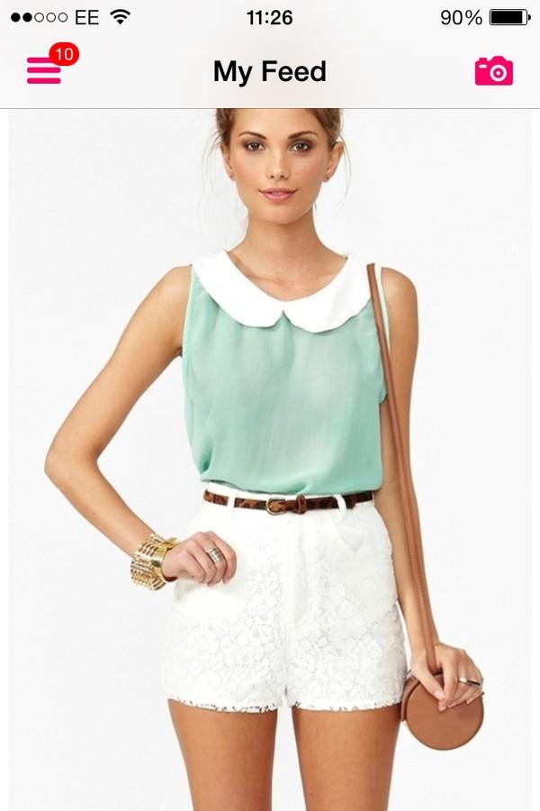 blouse shorts bag belt