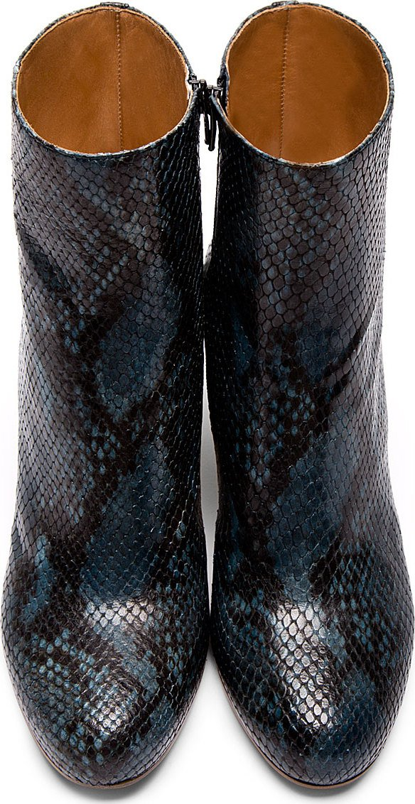 Blue snakeskin ankle boots