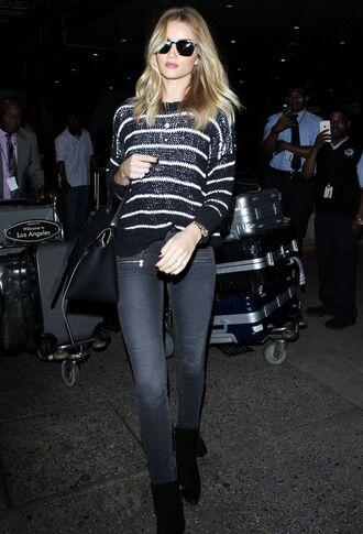 sweater rosie huntington-whiteley jeans stripes striped sweater