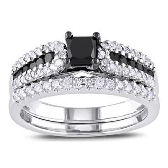 jewels ring set black diamond ring set black and white diamond engagement ring bridal set in 14k white gold plated silver silver ring set bridal ring set wedding ring set evolees.com