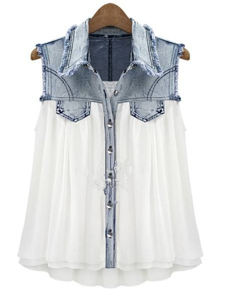 Stiching Denim Lapel Sleeveless White Chiffon Shirt - Sheinside.com