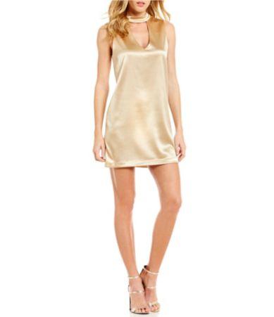b948ee72fb9 WAYF Gold Leash Choker Neck Sleeveless Shift Dress