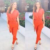 jumpsuit,maria menounos,sandals,instagram,red,pants,top