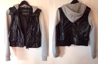 jacket jersey jacket leather jacket leather biker fit jersey sleeves cute jacket hot nice