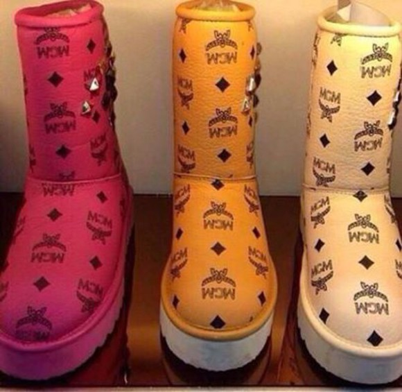 shoes mcm ugg boots boots winter outfits baily bow luxery ugg boots chanel mcm logo guiseppe zanotti christian louboutin ugg boots pink orange cute fashion