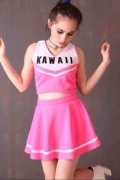 dress,cheerleading,pink,kawaii,kawaii grunge,pastel,cute