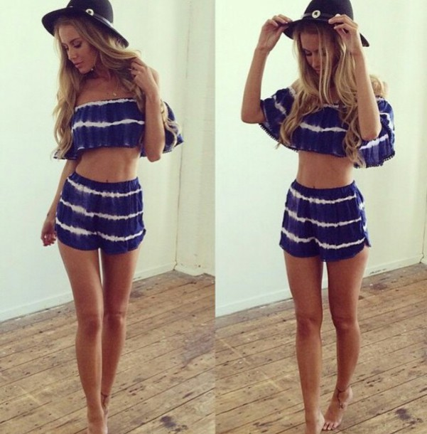 shorts summer shorts summer top dark blue