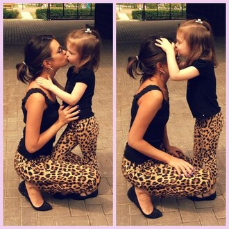 pants crop leopard print slim kids fashion love mother and child jeans