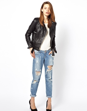 Vila | Vila Leather Biker Jacket at ASOS