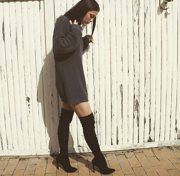 Dress Sweater Dress Sweater Grey Sweater Black Heels Thigh