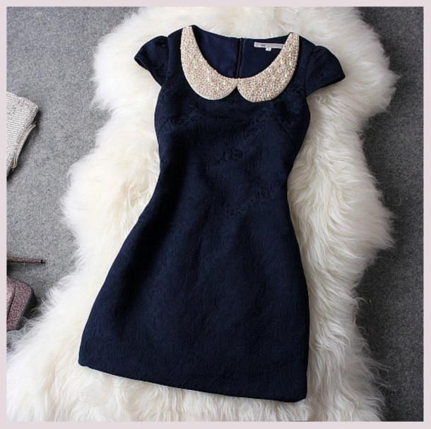 695ffd5f69805 dress navy cute dress beaded color peter pan collar pearl fluffy elegant  pattern dark blue lace