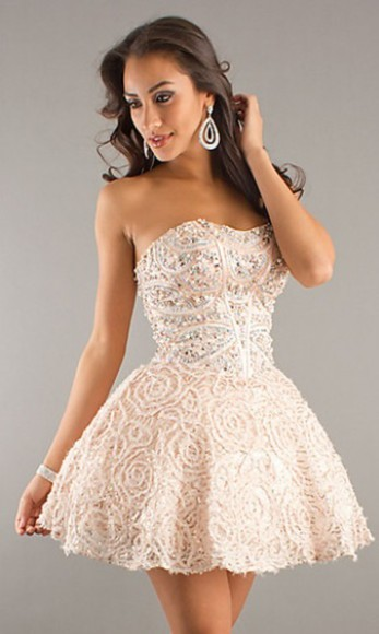 cream prom dress formal sparkle formal dress
