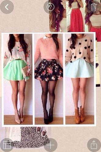 skirt flower shirt boots heels sweater blouse shirt shoes