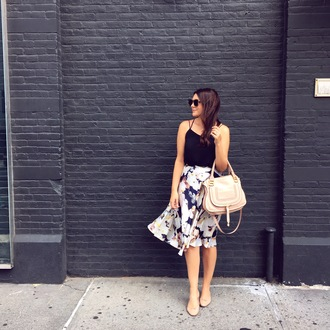 kendi everyday blogger tank top bag sunglasses black top floral skirt nude bag flats summer outfits midi skirt floral midi skirt high waisted skirt summer top chloe bag ballet flats nude flats