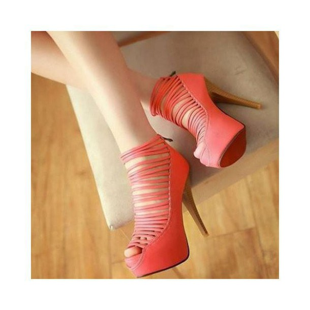 c4ba555aa8a shoes coral orange stilettos strappy strappy heels heels high high heels  open toes cool cute trendy