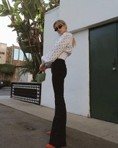 pants,shirt,top,dots top,sunglasses,black pants,wide leg patns,shoes