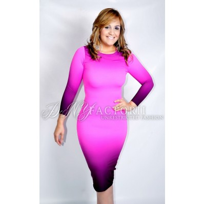Ombre Bodycon Pink Dress - VIEW ALL DRESSES - DRESSES