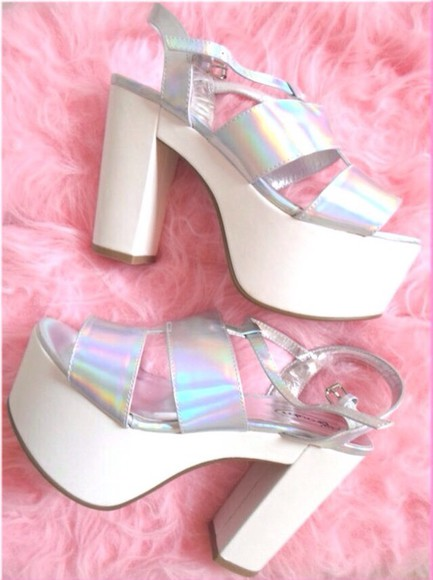shoes platform shoes pastel white iridescent platform sandals silver kawaii platforms