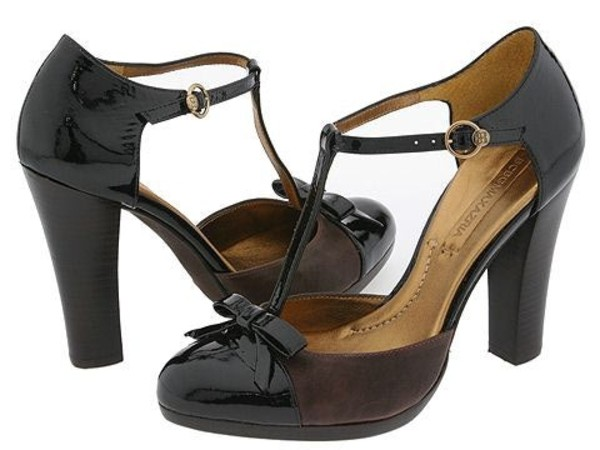 shoes black t strap bow thick heel