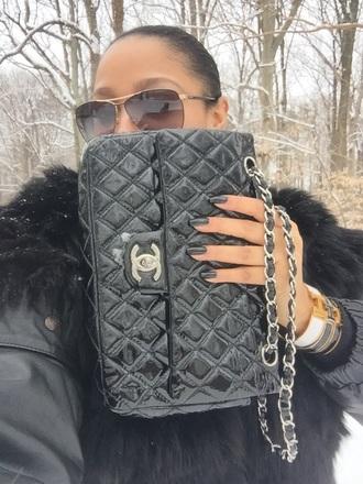 nail polish chanel gucci prada fur snow gucci sunglasses black polish new york city london fur coat winter coat streetwear fashion