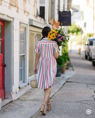 dress tumblr shirt dress midi dress stripes striped dress sandals sandal heels high heel sandals bag basket bag shoes