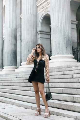 dress top beige top tumblr mini dress black dress slip dress sandals sandal heels high heel sandals platform sandals sunglasses bag