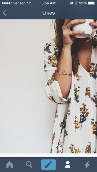 dress free people white dress floral dress long sleeve dress jewels