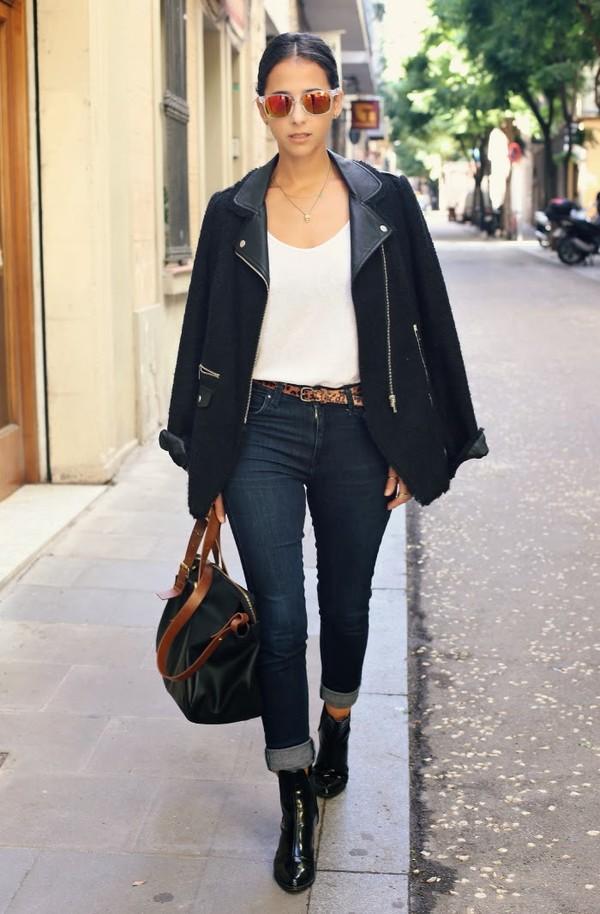 style in lima t-shirt jacket jeans shoes sunglasses bag belt jewels
