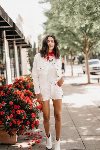 scarf shorts white shorts jacket white jacket boots white boots red scarf