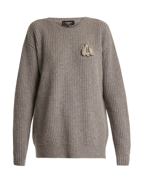 Rochas sweater wool sweater embellished bee wool grey