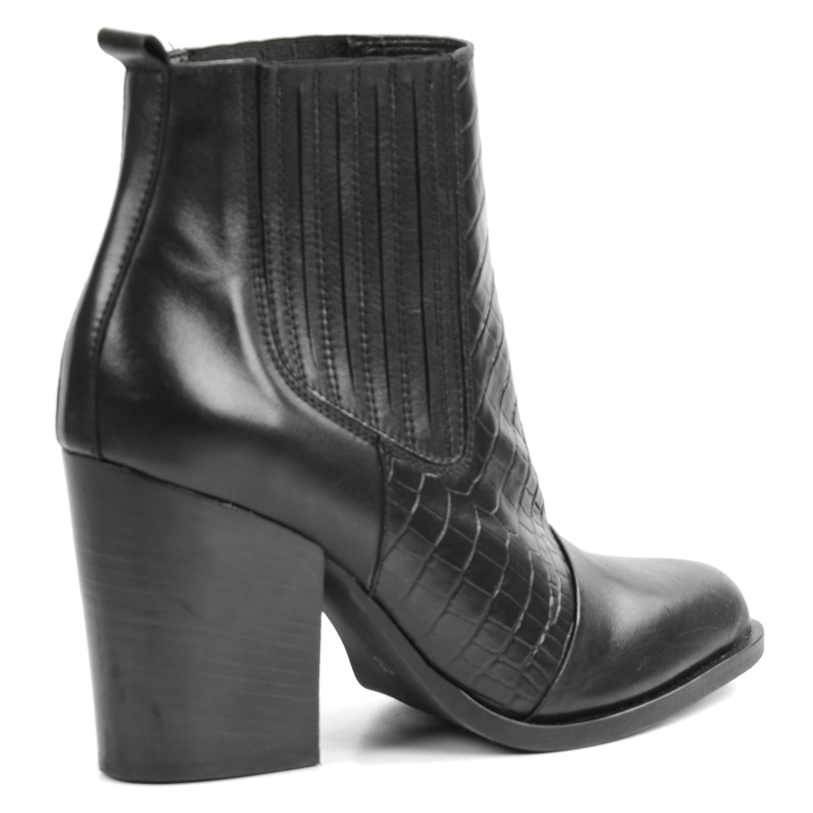 croco chelsea boots mit blockabsatz schwarz. Black Bedroom Furniture Sets. Home Design Ideas