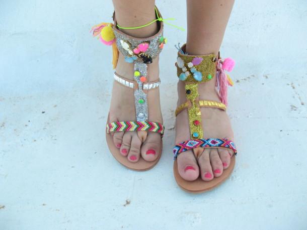 e8791a31b shoes glitter gold sandals silver Silver sandals silver gold pon pon shoes  boho bohemian boho sandals