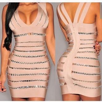 dress nude nude dress sexy sexy dress bandage dress diamonds glitter clubwear bodycon