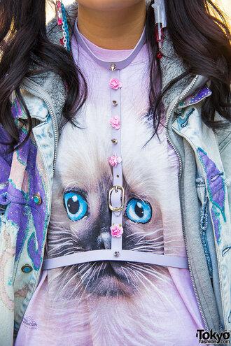 shirt kitty cats tumblr kawaii jewels belt
