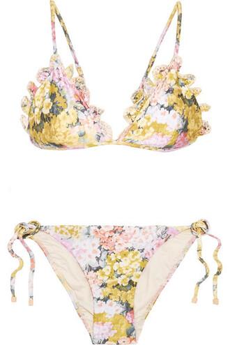 bikini triangle bikini triangle embroidered floral print yellow swimwear