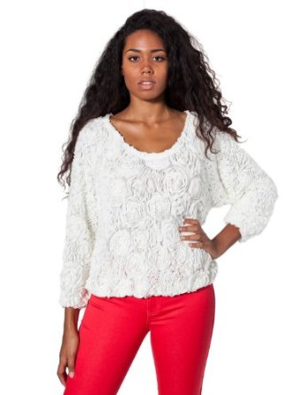 American Apparel 3-D Flower Mesh Jumper - White / One Size: Amazon.co.uk: Clothing