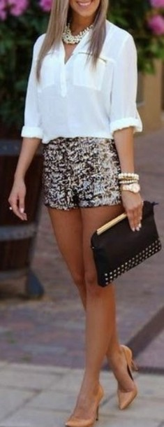 shorts gold and sparkly blouse