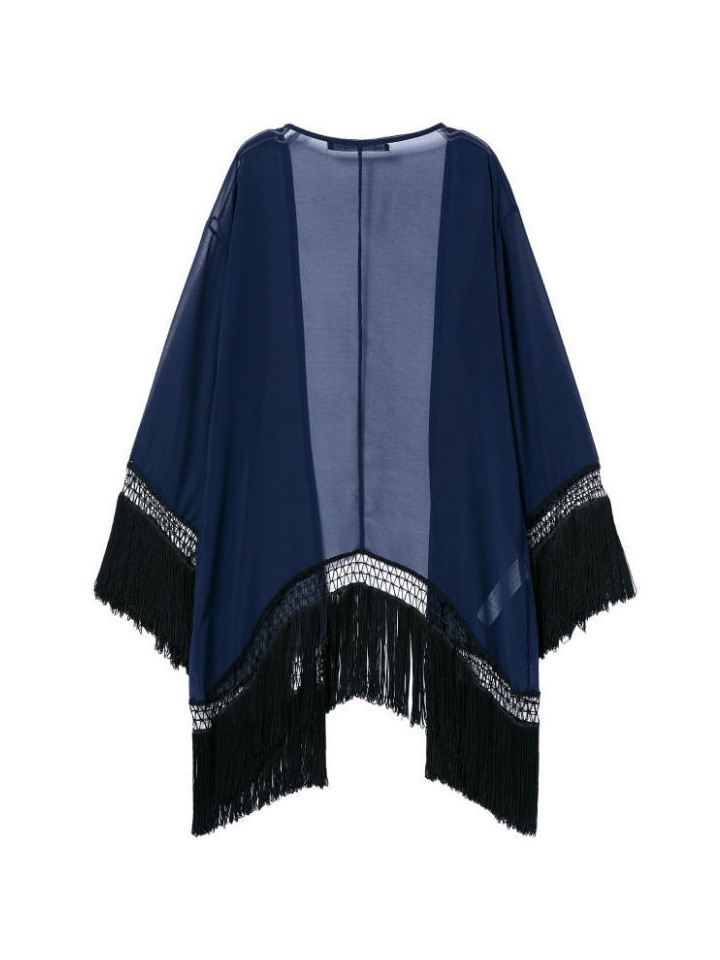 Women's Loose Stylish Long-Sleeved Bat Sleeve Blue Fringed Cardigan Kimono - WSDear.com