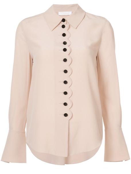 Chloe blouse women scalloped silk purple pink top