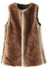 brown vest,brown waistcoat,brown faux fur,faux fur vest,faux fur waistcoat,long line waistcoat,lined vest,lined waistcoat,www.ustrendy.com