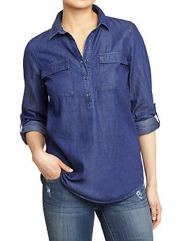Women's Chambray Henleys | Old Navy
