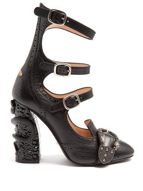 gucci heel embellished pumps black shoes
