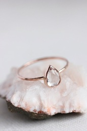 jewels,ring,tear,teardrop,gold,pale,pastel,diamonds,hipster wedding,minimalist jewelry,engagement ring,teardrop ring