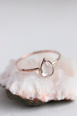 jewels ring tear teardrop gold pale pastel diamonds hipster wedding minimalist jewelry engagement ring teardrop ring