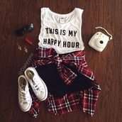 t-shirt,white shoes,lookbook,plaid shirt,junior,clothes,sneakers,sunglasses,converse,shirt,white t-shirt,white,black,this,is,my,happy,hour,thisismyhappyhour,this is my happy hour,quote on it,outfit,top,shorts,tank top,white muscle shirt,crop tops,fashion