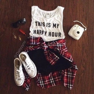 t-shirt white shoes lookbook plaid shirt junior clothes sneakers sunglasses converse shirt white t-shirt white black this is my happy hour thisismyhappyhour this is my happy hour quote on it outfit top shorts tank top white muscle shirt crop tops fashion