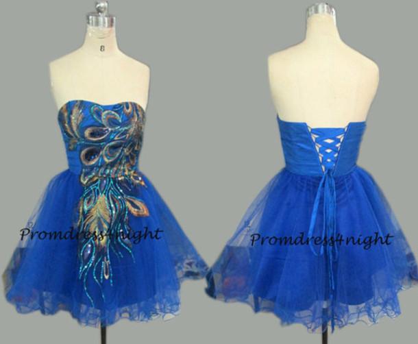 Peacock Prom Dress Royal Blue Prom Dress Short Prom Dress Short