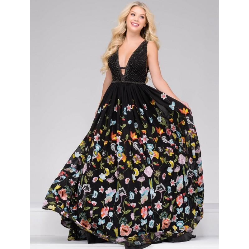 Jovani 48091 Prom Dress - Ball Gown Prom Jovani Long V Neck Dress - 2018 New Wedding Dresses
