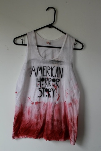 tank top grunge cool blood american horror story blouse tie dye soft grunge shirt red t-shirt white horror top white tank top creepy yes nice cute scary clothes random fashion american story style goth emo american horror story t shirt black grey movies tv ahs tate evan peters black and white