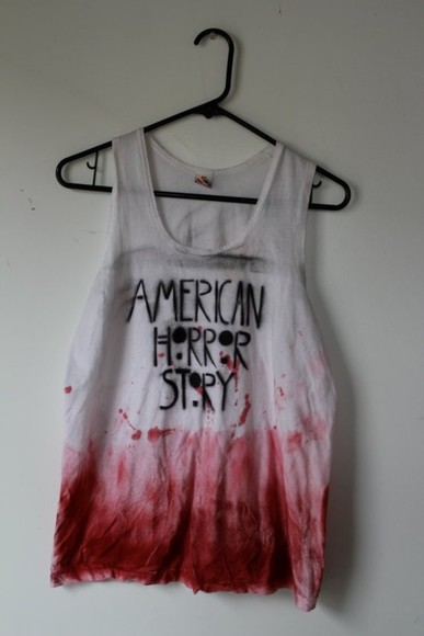 american horror story tv show tv blood tank top grunge streetwear cool interesting bloody tumblr crop tops t-shirt shirt weheartit tie dye black white muscle tank black and white tank top, blood t-shirt red teen soft grunge top merchandise american horror story evan peters emma roberts chanel style jacket american flag shorts